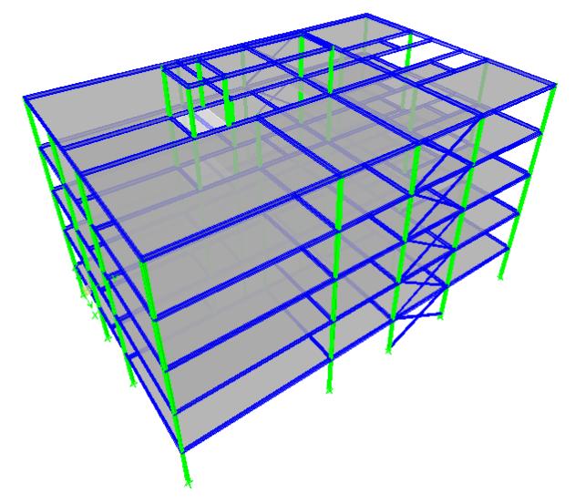 پروژه فولادی تحلیل و طراحی ساختمان چهار طبقه با نرم افزار ETABS و SAFE