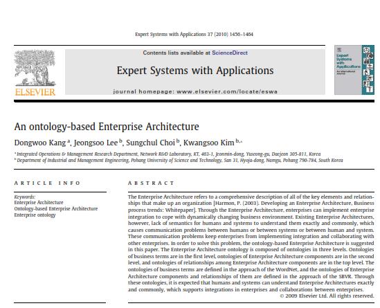 مقاله معماری سازمانی مبتنی بر آنتولوژی