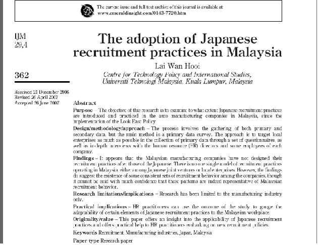 دانلود مقاله ترجمه شده با عنوان اتخاذ عملیات استخدام ژاپني در مالزي