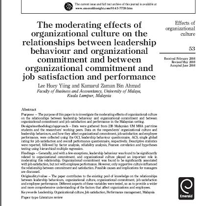 مقاله ترجمه شده با عنوان اثرات متعادل کننده فرهنگ سازماني بر روابط ميان رفتار رهبري