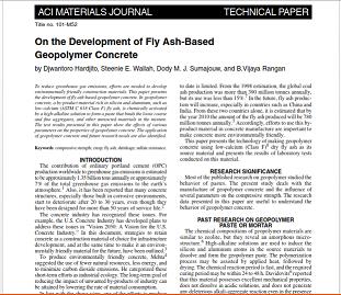 مقاله ترجمه شده با عنوان پیرامون توسعه بتن ژئوپلیمر بر پایه خاکستر بادی