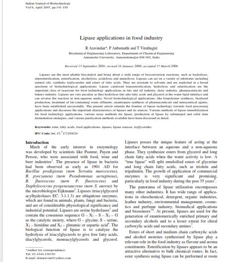 مقاله ترجمه شده با عنوان کاربردهای لیپاز در صنایع غذایی