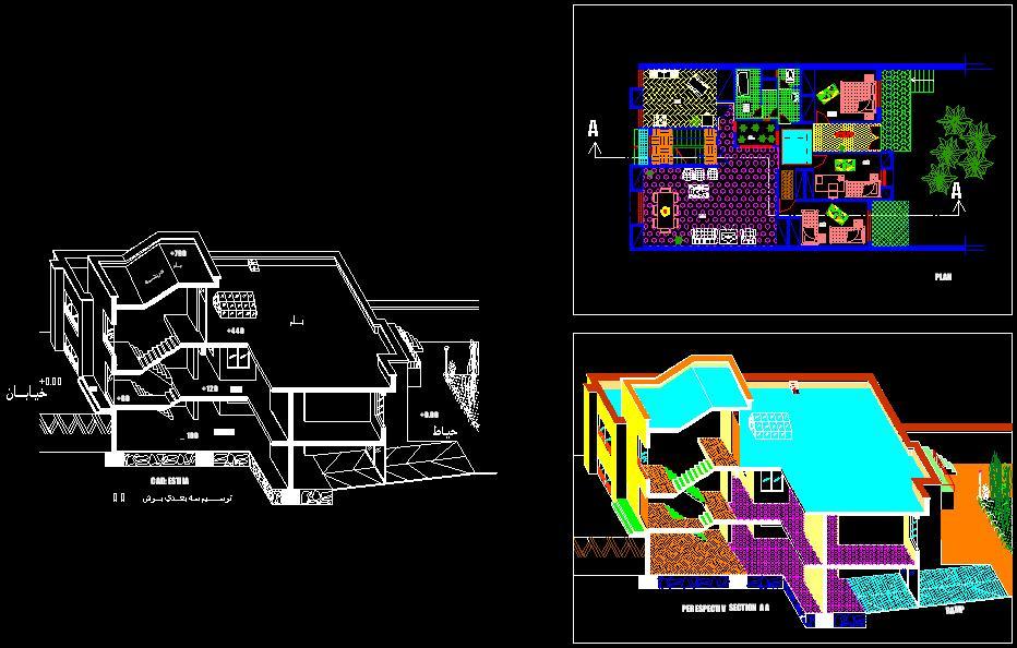 پلان معماري ويلا دو طبقه و پلان 3D