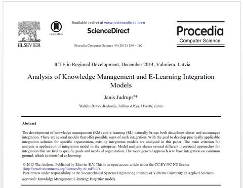 مقاله ترجمه شده با عنوان یکپارچه سازی مدل های تجزیه و تحلیل مدیریت دانش و یادگیری الکترونیکی