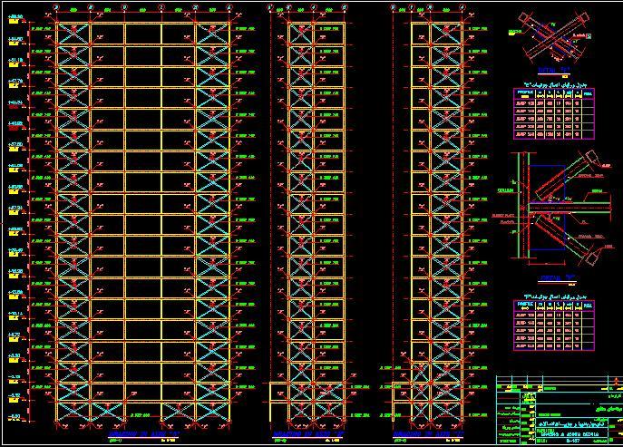 نقشه هاي سازه اي ساختمان 19 طبقه فلزي