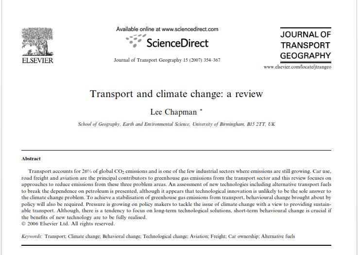 مقاله ترجمه شده تأثیر حمل و نقل بر آب و هوا