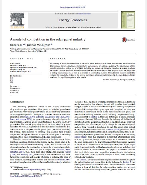 مقاله ترجمه شده یک مدل رقابتی در صنعت صفحات خورشیدی،به همراه اصل مقاله