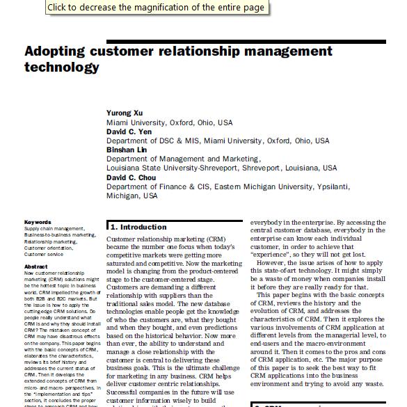 مقاله ترجمه شده با عنوان سازگار کردن تکنولوژی مدیریت ارتباط با مشتری، به همراه اصل مقاله