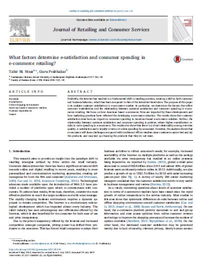 مقاله ترجمه شده با عنوان کدام عوامل رضایت الکترونیکی و صرف هزینه مصرف کننده در خرده فروشی تجارت