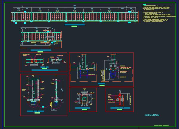نمونه نقشه مقطع عرضی راه، به همراه جزئیات گاردریل و هندریل