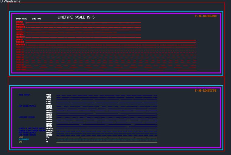 مجموعه سمپل اتوكد ترسيم خطوط استاندارد