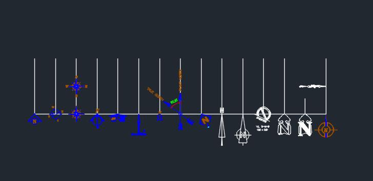مجموعه سمپل اتوكد ترسيم جهت شمال و جنوب