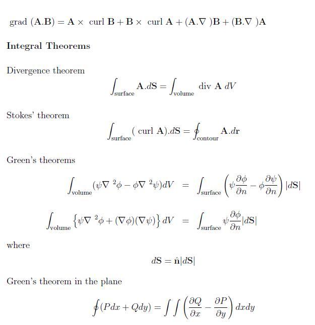 فرمول های مهم و کاربردی ریاضی