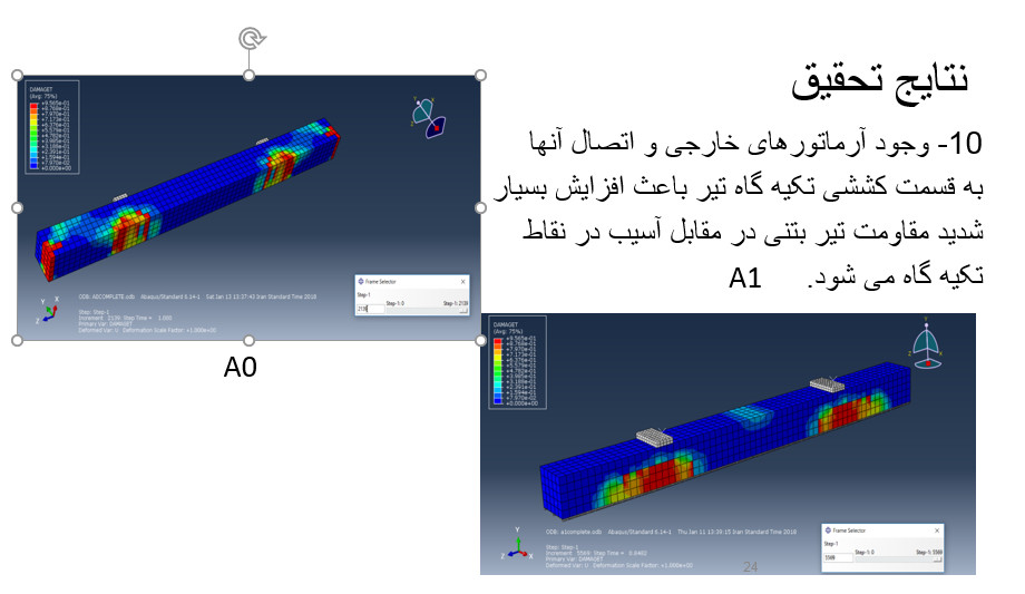 پکیج شبیه سازی آباکوس و رفتار تیرهای تقویتی بتنی با آرماتورهای خارجی توسط نرم افزار آباکوس