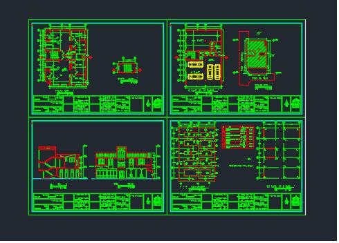 مجموعه نقشه های ساختمان 2 طبقه 4 واحدي (هر واحد 66 متر)