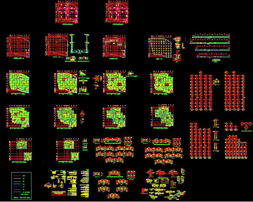 نقشه هاي سازه اي ساختمان 10 طبقه فلزي بدون بادبند